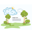 trees with clouds vector image vector image