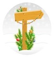Wooden arrow decorated with Christmas toys vector image vector image