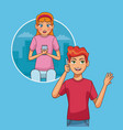young couple with smartphones vector image