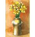 watercolor painting of daffodil flowers in vector image