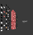 abstract night panorama building on street vector image