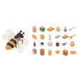 apiary icon set isometric style vector image