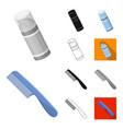 barbershop and equipment cartoonblackflat vector image vector image
