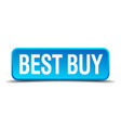 best buy blue 3d realistic square isolated button vector image vector image