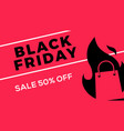black friday sale web banner flat shopping bag vector image vector image