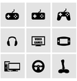 black video games icon set vector image
