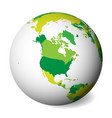 blank political map of north america 3d earth vector image vector image