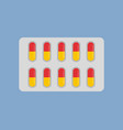 blister with yellow and red capsules isolated icon vector image