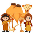 boy and girl standing with camel vector image vector image