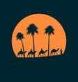 camel caravan against sunset palm trees on the vector image