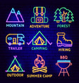 camping neon label set vector image