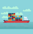 cargo ship with containers in ocean or sea vector image