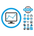 Chart Monitoring Flat Icon with Bonus vector image vector image