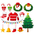christmas ornaments and pine tree vector image vector image
