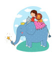 cute cartoon little boy and big elephant vector image vector image