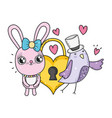 cute rabbit with heart padlock valentines day vector image