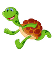 Cute turtle cartoon run vector image