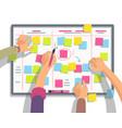 developers team planning weekly schedule tasks on vector image vector image