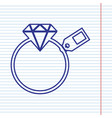 diamond sign with tag navy line icon on vector image vector image