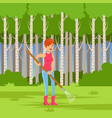 ecological lifestyle concept with woman and rake vector image