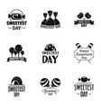 enjoy sweetest day logo set simple style vector image