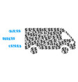fast delivery car collage of dollar and dots vector image vector image