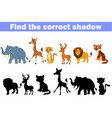 find the correct shadow africa animals vector image vector image