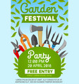 garden festival party and gardening tools vector image vector image