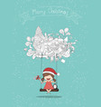 girls santa and penguin swinging on a cloud icon vector image