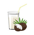glass with coconut juice vector image