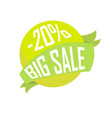 green ball in ribbon big sale for twenty percent vector image