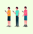 group of young men using smartphone vector image
