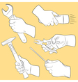 Hand tools in use vector image vector image