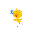 happy cute baby easter chicken character dancing vector image