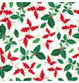 holly berry green red holiday seamless vector image vector image
