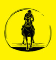 horse racing horse with jockey vector image