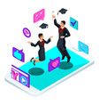 isometrics graduates jumping rejoice academic vector image vector image