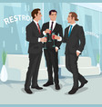 men in business suits drink red wine in office vector image vector image