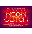 neon glitch typeface 01 vector image vector image