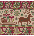 New year knitted pattern with reindeer vector image vector image