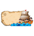 paper template with children on pirate ship vector image vector image