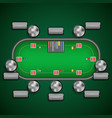 poker table with chairs and cards chips player vector image vector image