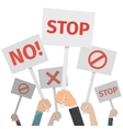 Protest concept Hands holding different signs No vector image vector image