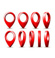 realistic detailed 3d red map pointer pin set in vector image