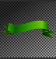 realistic shiny green ribbon banner isolated vector image vector image