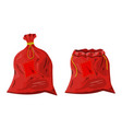 red cloth closed and open bag vector image