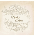 Rose and peony floral frame wedding card template vector image vector image