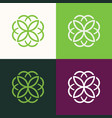 round flower green set logo vector image vector image