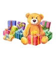 Teddy bear sits on a background of gifts vector image