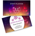 Template colorful business cards for event planner vector image vector image